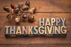 Cartolina d'auguri felice di ringraziamento nel tipo di legno Fotografie Stock Libere da Diritti
