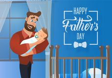 Cartolina d'auguri felice di vettore del fumetto di giorno di padri illustrazione vettoriale