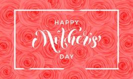 Cartolina d'auguri felice di vettore del modello di fiori di rosa di giorno di madre Immagine Stock