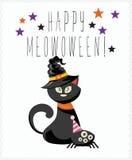 Cartolina d'auguri felice di vettore di Halloween con il gatto nero di Halloween Fotografia Stock