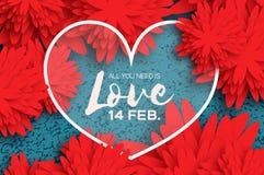 Cartolina d'auguri felice rossa di giorno di biglietti di S. Valentino Fiore da taglio di carta Fotografie Stock Libere da Diritti