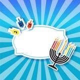 Cartolina d'auguri felice variopinta di Chanukah Festa ebrea con menorah Fotografie Stock