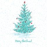 Cartolina d'auguri festiva Albero di abete con le palle rosse sul buon anno senza cuciture nevoso verde blu del testo e del fondo illustrazione vettoriale