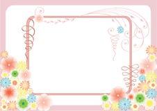 Cartolina d'auguri floreale con i fiori e le arricciature Fotografie Stock Libere da Diritti