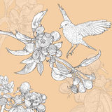 Cartolina d'auguri floreale d'annata con l'uccello e royalty illustrazione gratis
