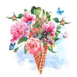 Cartolina d'auguri floreale dell'acquerello del disegno della mano di estate Fotografia Stock