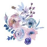 Cartolina d'auguri floreale dell'acquerello delicato in una La Prima Style, rose rosa dell'acquerello illustrazione vettoriale