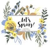 Cartolina d'auguri floreale di vettore d'annata con i Wildflowers illustrazione vettoriale
