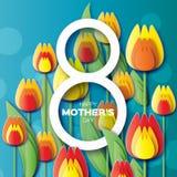 Cartolina d'auguri floreale gialla astratta - buona Festa della Mamma - 8 maggio - con il mazzo di tulipani della primavera Fotografie Stock