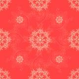 Cartolina d'auguri fondo del modello, classici senza cuciture rossi del nuovo anno e di Natale, invito con gli ornamenti del fioc illustrazione vettoriale