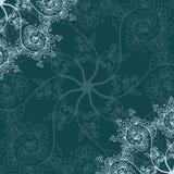Cartolina d'auguri fondo del modello, senza cuciture scuri del nuovo anno e di Natale, invito con gli ornamenti del fiocco di nev royalty illustrazione gratis
