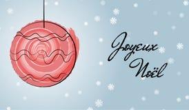 Cartolina d'auguri francese di Natale con la spazzola dell'acquerello Immagini Stock Libere da Diritti