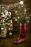 Cartolina d'auguri fresca dell'albero di Natale Fotografia Stock