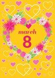 Cartolina d'auguri giorno della donna dell'8 marzo illustrazione di stock