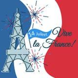 Cartolina d'auguri, insegna con la torre Eiffel, fuochi d'artificio, bandiera per illustrazione di stock