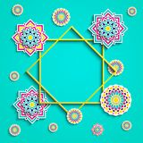 Cartolina d'auguri islamica Progettazione araba di feste Illustrazione di vettore Elementi decorativi rotondi, fiori, elementi fl royalty illustrazione gratis