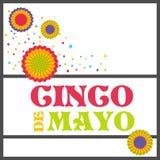 Cartolina d'auguri luminosa con iscrizione disegnata a mano per Cinco de Mayo nello stile minimalista Illustrazione di vettore pe Fotografie Stock