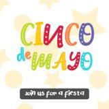 Cartolina d'auguri luminosa con iscrizione disegnata a mano per Cinco de Mayo nello stile minimalista Illustrazione di vettore pe Fotografia Stock Libera da Diritti