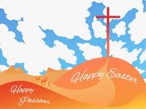 Cartolina d'auguri, manifesto, illustrazione Pasqua felice - Passove felice illustrazione vettoriale