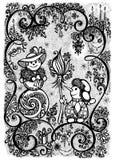 Cartolina d'auguri monocromatica con i paia dei pupazzi di neve nell'amore Fotografia Stock