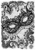 Cartolina d'auguri monocromatica con la maschera di travestimento Fotografia Stock
