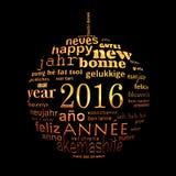 cartolina d'auguri multilingue della nuvola di parola del testo da 2016 nuovi anni Immagine Stock