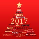cartolina d'auguri multilingue della nuvola di parola del testo da 2017 nuovi anni, forma di un albero di Natale Fotografia Stock Libera da Diritti