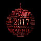 cartolina d'auguri multilingue della nuvola di parola del testo da 2017 nuovi anni, forma di una palla di natale Immagini Stock