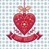 Cartolina d'auguri nella forma del cuore Feste felici Fotografia Stock