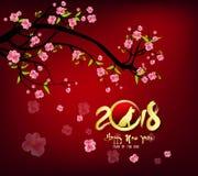 Cartolina d'auguri 2018, nuovo anno cinese del buon anno di cane del ther immagine stock libera da diritti