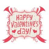 Cartolina d'auguri o invito felice di giorno di biglietti di S. Valentino con tipografia di Handlettering Immagine Stock Libera da Diritti