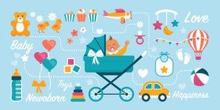 Cartolina d'auguri d'ondeggiamento sveglia del bambino illustrazione vettoriale