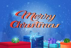Cartolina d'auguri orizzontale piana della decorazione del contenitore di regalo di concetto di Buon Natale del buon anno royalty illustrazione gratis