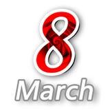 Cartolina d'auguri per donne giorno l'8 marzo con Rose Texture rossa e fondo bianco Immagine Stock