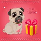 Cartolina d'auguri per il giorno del ` s del biglietto di S. Valentino con un carlino e un regalo svegli illustrazione vettoriale