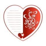 Cartolina d'auguri per il giorno del `s del biglietto di S Cuore rosso con l'iscrizione e le linee per testo royalty illustrazione gratis