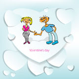 Cartolina d'auguri per il giorno di biglietti di S. Valentino con uno schizzo Immagini Stock