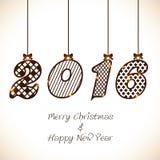 Cartolina d'auguri per il Natale ed il nuovo anno 2016 Fotografia Stock