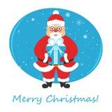 Cartolina d'auguri per l'insegna di festa Buon Natale, Santa Claus che tiene un regalo Illustrazione di vettore Fotografia Stock Libera da Diritti