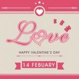 Cartolina d'auguri per la celebrazione di San Valentino Fotografia Stock Libera da Diritti