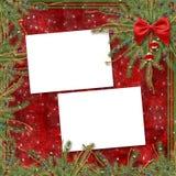 Cartolina d'auguri per la festa, con un nastro rosso Fotografia Stock