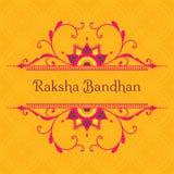 Cartolina d'auguri per la festa indiana Raksha Bandhan con il fram del fiore illustrazione di stock