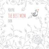Cartolina d'auguri per la mamma con amore Fotografie Stock Libere da Diritti
