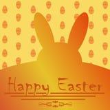 Cartolina d'auguri per Pasqua con il coniglietto di pasqua giallo Immagini Stock