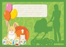Cartolina d'auguri per un bambino appena nato Fotografia Stock