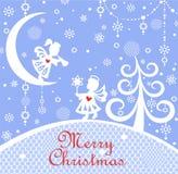 Cartolina d'auguri puerile ingenuo blu pastello di natale con carta che taglia i piccoli angeli, albero, decorazione d'attaccatur illustrazione di stock