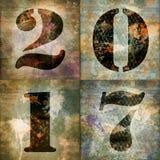2017, cartolina d'auguri quadrata con i numeri industriali Immagine Stock