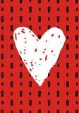 Cartolina d'auguri romantica disegnata a mano con le chiazze dell'inchiostro ed il grande cuore illustrazione di stock