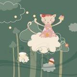 Cartolina d'auguri rosa di compleanno e del gatto Immagini Stock Libere da Diritti