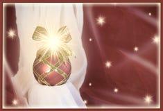 Cartolina d'auguri rossa del fondo di Natale dell'ornamento immagini stock